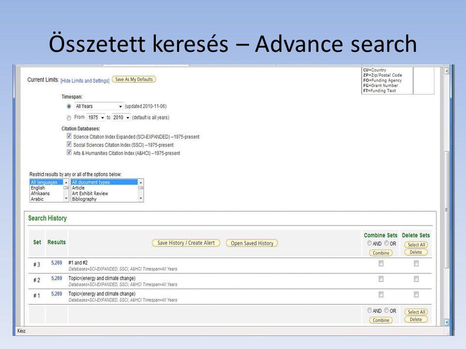Összetett keresés – Advance search