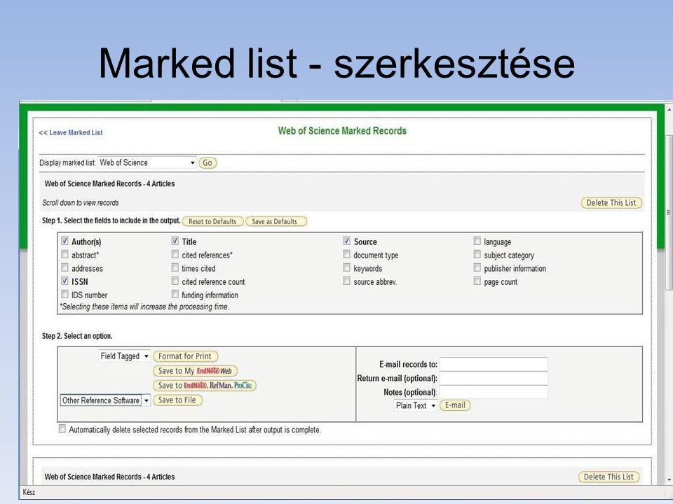 Marked list - szerkesztése