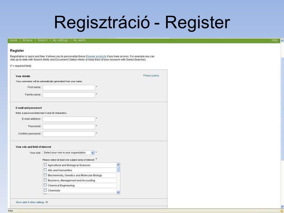 Regisztráció - Register