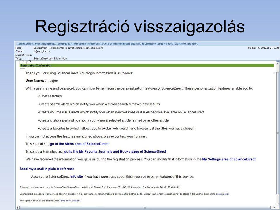 Regisztráció visszaigazolás