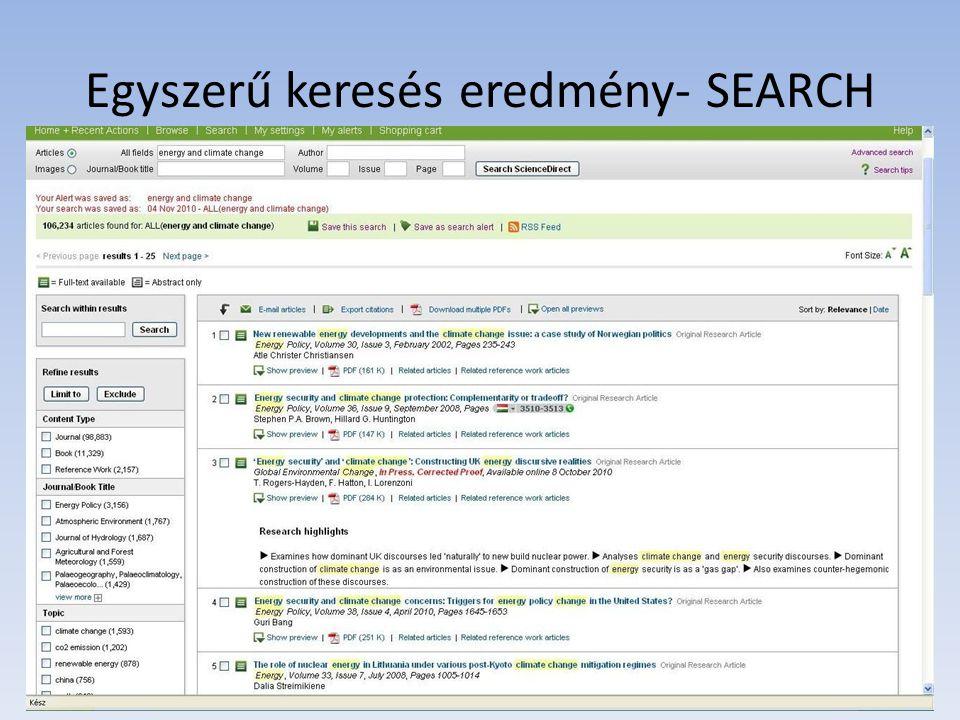 Egyszerű keresés eredmény- SEARCH