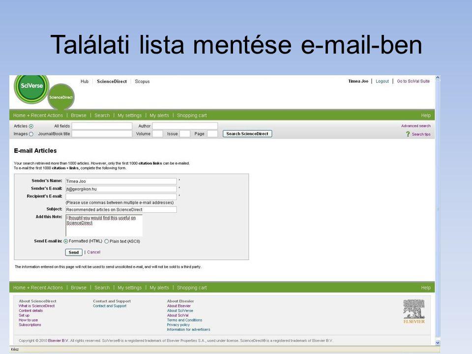Találati lista mentése e-mail-ben