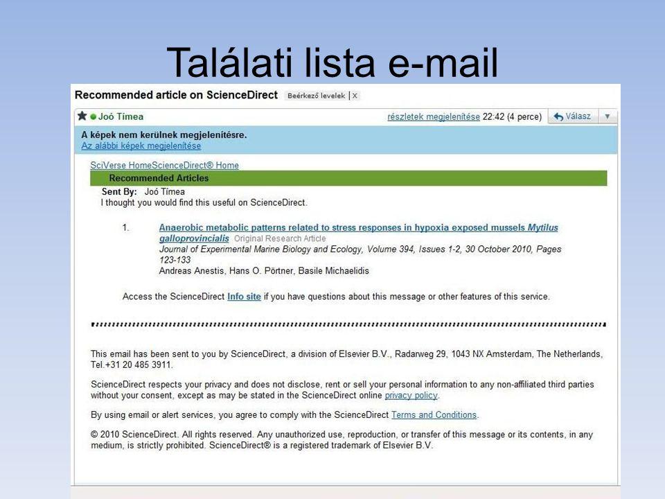 Találati lista e-mail
