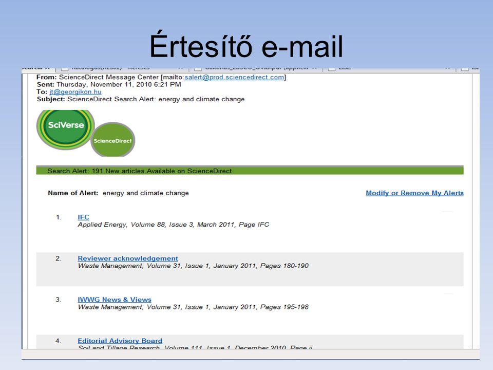 Értesítő e-mail