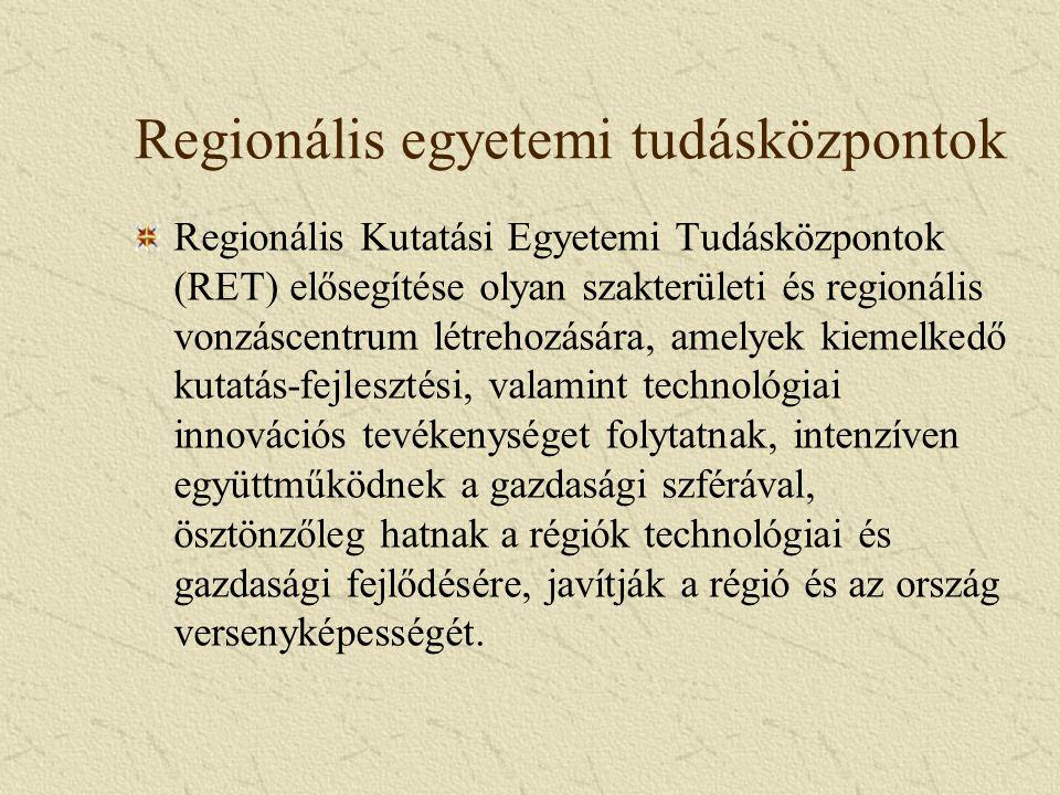 Regionális egyetemi tudásközpontok Regionális Kutatási Egyetemi Tudásközpontok (RET) elősegítése olyan szakterületi és regionális vonzáscentrum létrehozására, amelyek kiemelkedő kutatás-fejlesztési, valamint technológiai innovációs tevékenységet folytatnak, intenzíven együttműködnek a gazdasági szférával, ösztönzőleg hatnak a régiók technológiai és gazdasági fejlődésére, javítják a régió és az ország versenyképességét.