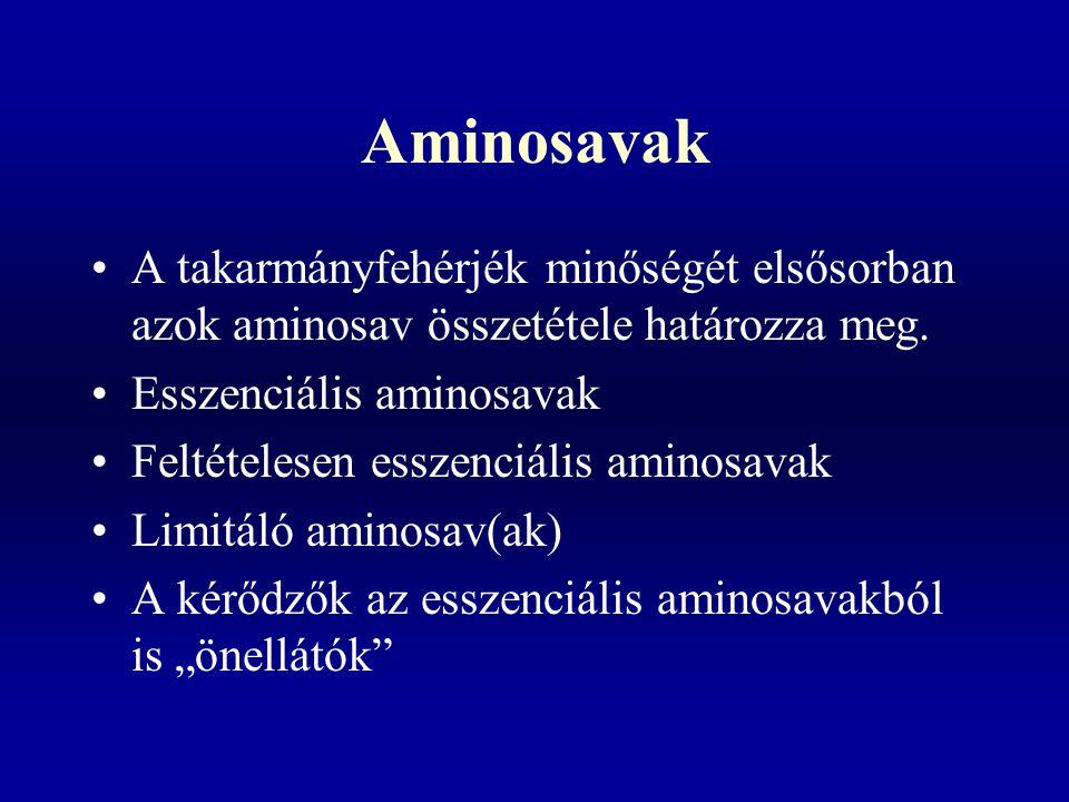 Aminosavak A takarmányfehérjék minőségét elsősorban azok aminosav összetétele határozza meg. Esszenciális aminosavak Feltételesen esszenciális aminosa