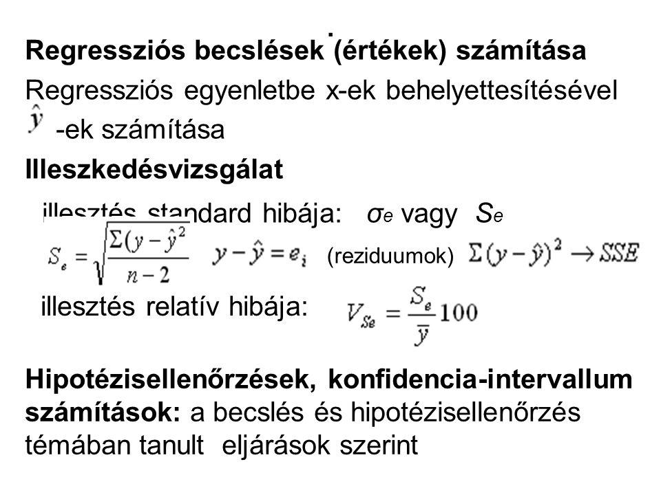 . Regressziós becslések (értékek) számítása Regressziós egyenletbe x-ek behelyettesítésével -ek számítása Illeszkedésvizsgálat illesztés standard hibá
