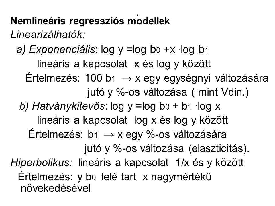 . Nemlineáris regressziós modellek Linearizálhatók: a) Exponenciális: log y =log b 0 +x ∙log b 1 lineáris a kapcsolat x és log y között Értelmezés: 10
