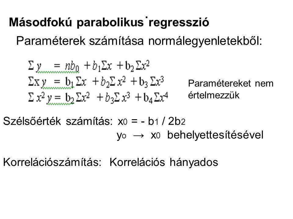 . Másodfokú parabolikus regresszió Paraméterek számítása normálegyenletekből: Paramétereket nem értelmezzük Szélsőérték számítás: x 0 = - b 1 / 2b 2 y