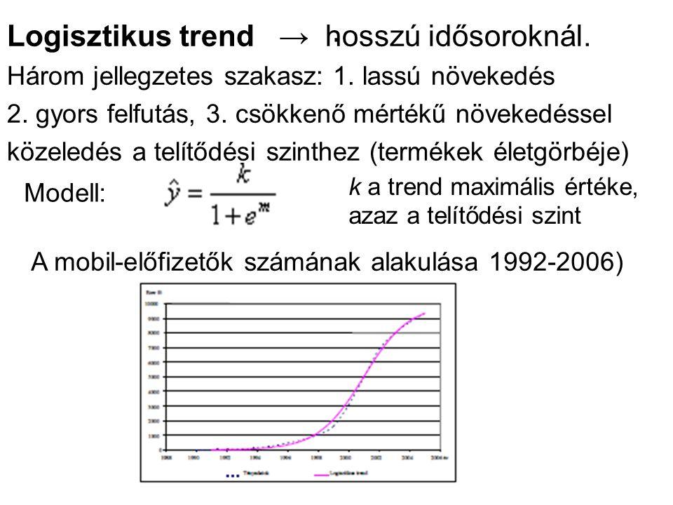 . Logisztikus trend → hosszú idősoroknál. Három jellegzetes szakasz: 1. lassú növekedés 2. gyors felfutás, 3. csökkenő mértékű növekedéssel közeledés