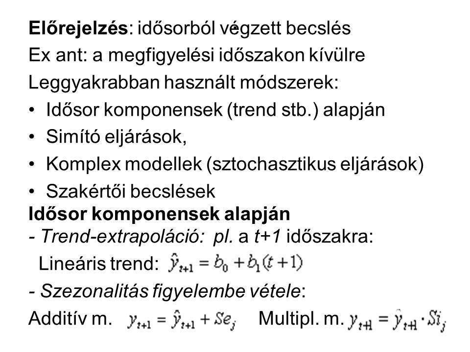 . Előrejelzés: idősorból végzett becslés Ex ant: a megfigyelési időszakon kívülre Leggyakrabban használt módszerek: Idősor komponensek (trend stb.) al