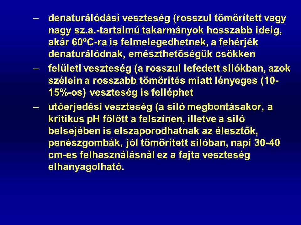 –denaturálódási veszteség (rosszul tömörített vagy nagy sz.a.-tartalmú takarmányok hosszabb ideig, akár 60ºC-ra is felmelegedhetnek, a fehérjék denatu