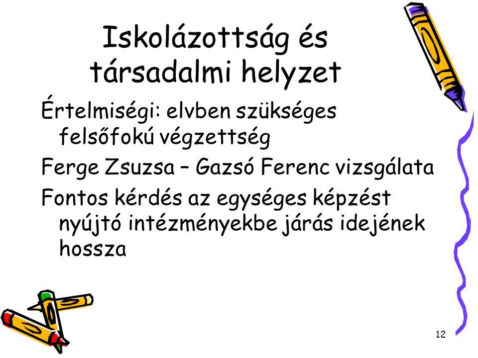 12 Iskolázottság és társadalmi helyzet Értelmiségi: elvben szükséges felsőfokú végzettség Ferge Zsuzsa – Gazsó Ferenc vizsgálata Fontos kérdés az egységes képzést nyújtó intézményekbe járás idejének hossza