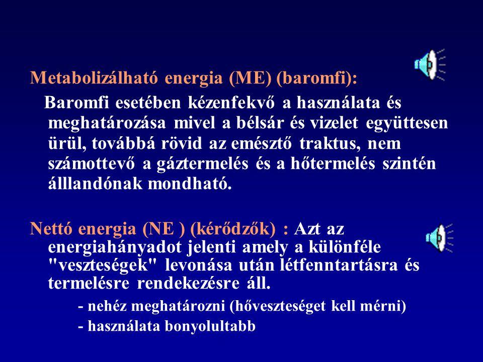 Választás az energiaértékelési rendszerek között Bruttó energia (BE): egyszerűen, gyorsan becsülhető, de nincs tekintettel az állatok emésztési sajáto