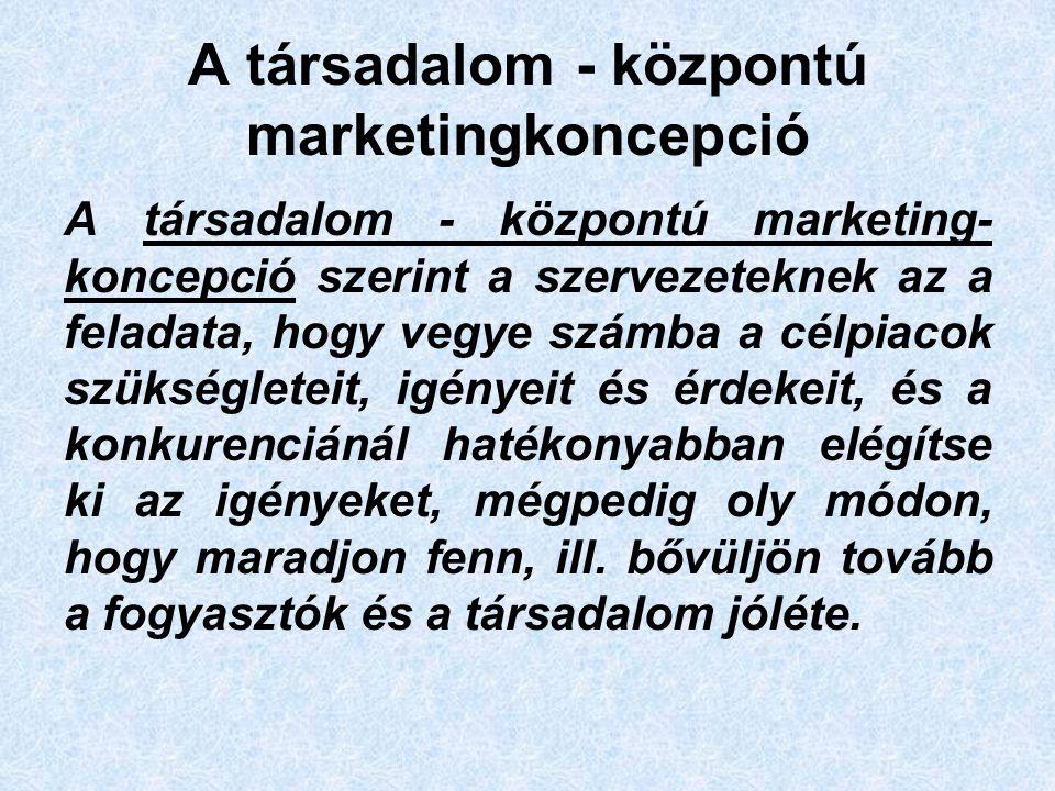 A társadalom - központú marketingkoncepció A társadalom - központú marketing- koncepció szerint a szervezeteknek az a feladata, hogy vegye számba a célpiacok szükségleteit, igényeit és érdekeit, és a konkurenciánál hatékonyabban elégítse ki az igényeket, mégpedig oly módon, hogy maradjon fenn, ill.