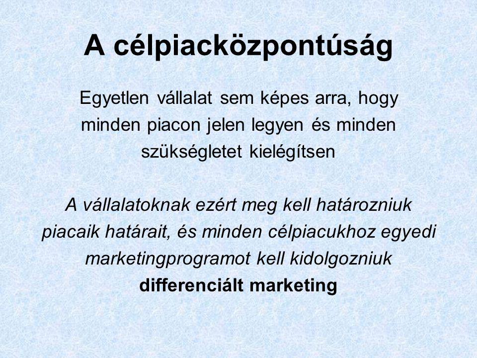 A célpiacközpontúság Egyetlen vállalat sem képes arra, hogy minden piacon jelen legyen és minden szükségletet kielégítsen A vállalatoknak ezért meg kell határozniuk piacaik határait, és minden célpiacukhoz egyedi marketingprogramot kell kidolgozniuk differenciált marketing