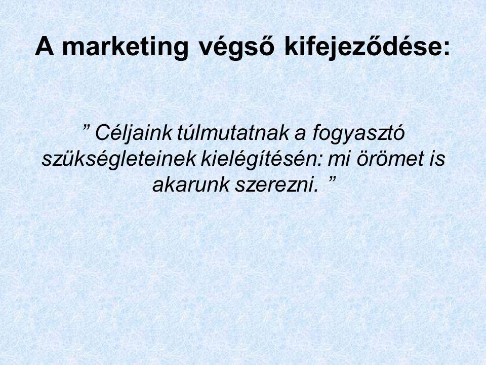 A marketing végső kifejeződése: Céljaink túlmutatnak a fogyasztó szükségleteinek kielégítésén: mi örömet is akarunk szerezni.