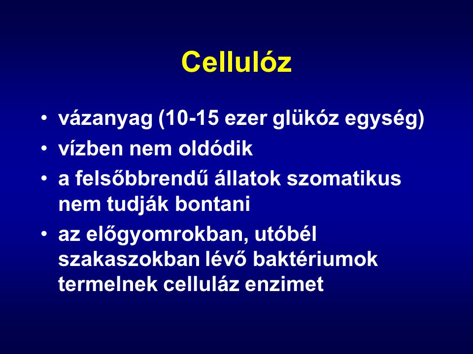 Hemicellulóz átmenet a vázalkotó és a tartalék szénhidrátok között vizet köt meg szerkezete kémiailag nem egységes (hexózok, de főleg pentózok, ribóz, xilóz, arabinóz polimerje) szintén csak a baktériumok bontják
