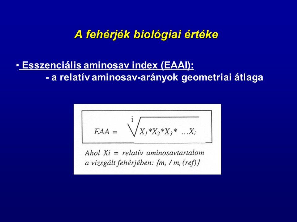 A fehérjék biológiai értéke Esszenciális aminosav index (EAAI): - a relatív aminosav-arányok geometriai átlaga