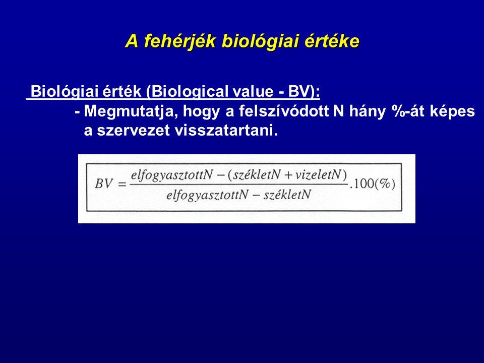 A fehérjék biológiai értéke Biológiai érték (Biological value - BV): - Megmutatja, hogy a felszívódott N hány %-át képes a szervezet visszatartani.