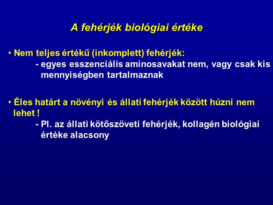 A fehérjék biológiai értéke Kémiai indexek (Chemical score): - az aminosav összetétel és a táplálkozási érték közötti összefüggésen alapulnak - egy referencia-fehérje összetételéhez hasonlítják a vizsgálandó fehérjét (FAO/WHO) - a referencia-fehérje összetétele korosztályonként eltérő – az esszenciális aminosav szükséglet változik a korral - nem adnak felvilágosítást a felszívódásra és az intermedier anyagcsere kölcsönhatásaira - célszerű a biológiai módszerekkel végzett vizsgálatok eredményeivel együtt felhasználni őket