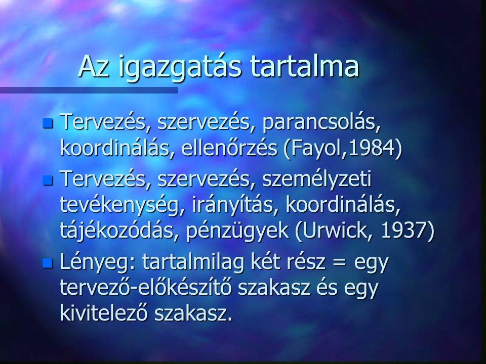 Az igazgatás tartalma n Tervezés, szervezés, parancsolás, koordinálás, ellenőrzés (Fayol,1984) n Tervezés, szervezés, személyzeti tevékenység, irányít