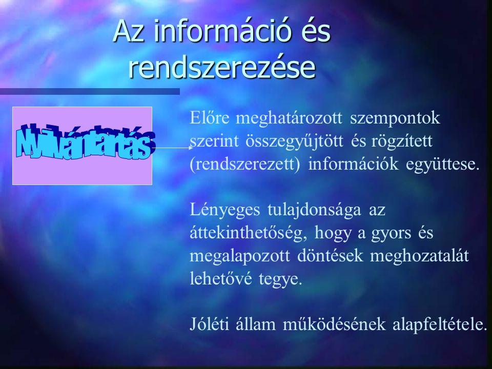 Az információ és rendszerezése Előre meghatározott szempontok szerint összegyűjtött és rögzített (rendszerezett) információk együttese. Lényeges tulaj