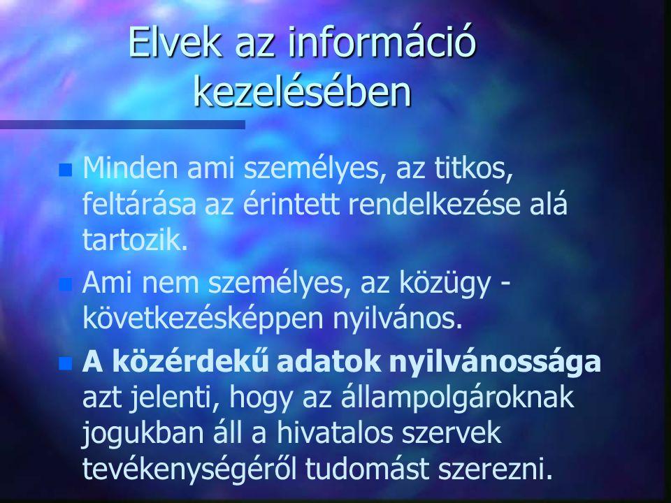 Elvek az információ kezelésében n n Minden ami személyes, az titkos, feltárása az érintett rendelkezése alá tartozik. n n Ami nem személyes, az közügy
