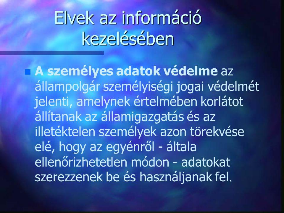 Elvek az információ kezelésében A személyes adatok védelme az állampolgár személyiségi jogai védelmét jelenti, amelynek értelmében korlátot állítanak