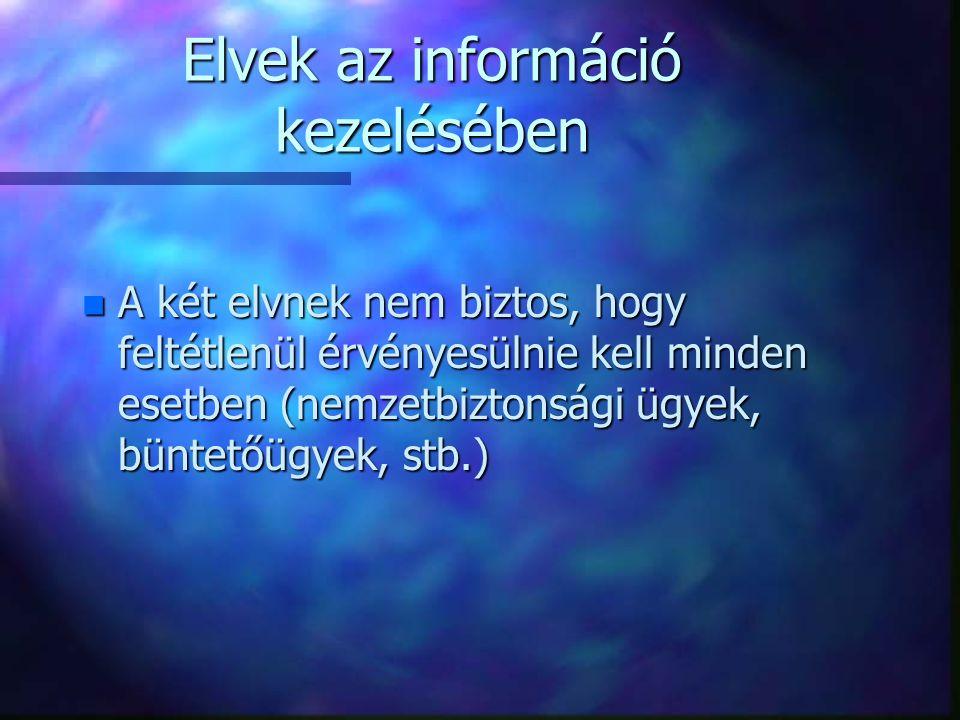 Elvek az információ kezelésében n A két elvnek nem biztos, hogy feltétlenül érvényesülnie kell minden esetben (nemzetbiztonsági ügyek, büntetőügyek, s