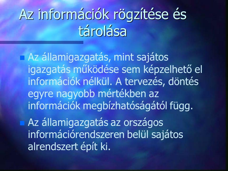 Az információk rögzítése és tárolása n n Az államigazgatás, mint sajátos igazgatás működése sem képzelhető el információk nélkül. A tervezés, döntés e