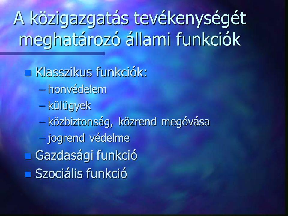 A közigazgatás tevékenységét meghatározó állami funkciók n Klasszikus funkciók: –honvédelem –külügyek –közbiztonság, közrend megóvása –jogrend védelme