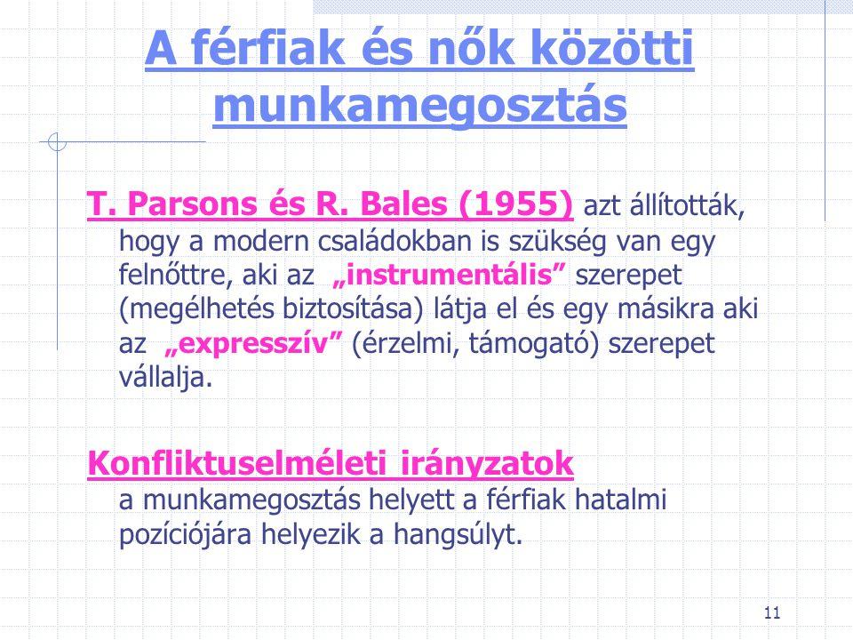 11 A férfiak és nők közötti munkamegosztás T.Parsons és R.
