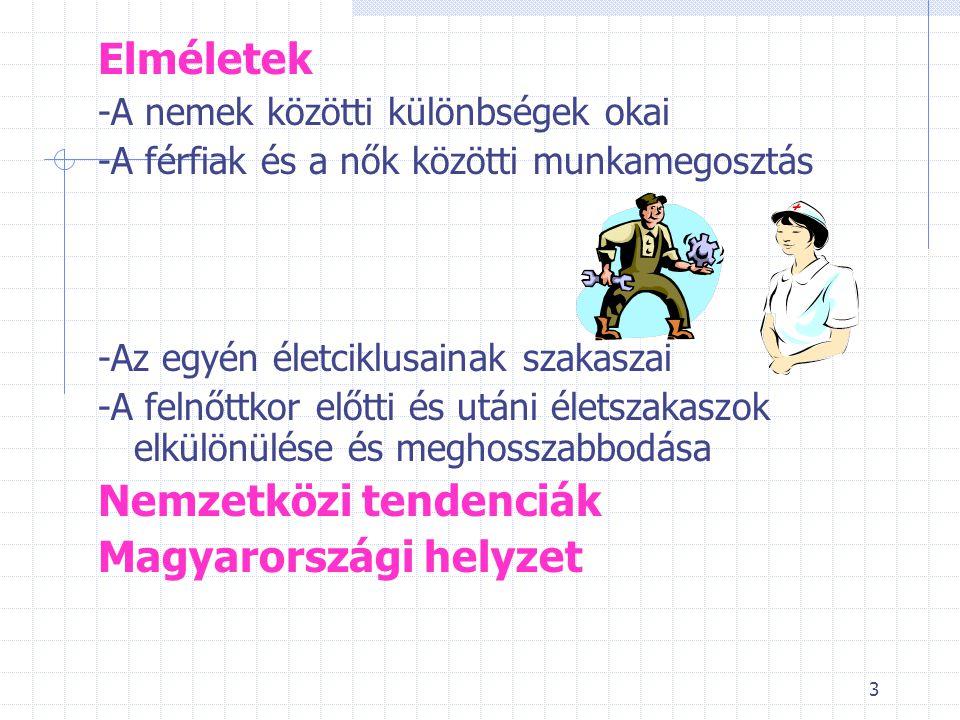3 Elméletek -A nemek közötti különbségek okai -A férfiak és a nők közötti munkamegosztás -Az egyén életciklusainak szakaszai -A felnőttkor előtti és utáni életszakaszok elkülönülése és meghosszabbodása Nemzetközi tendenciák Magyarországi helyzet