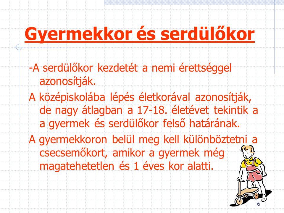7 Módszerek Népszámlálások -nem és korcsoport szerinti beosztás -speciális adatfelvételek fiatalokról és idősekről Szociológiai adatfelvételek -1960-as években több kutatást is végeztek az idős emberek életkörülményeiről(KSH-1969, Andorka-1979) - Ancsel (1984):a magyar ifjúság a 80-as években- ifjúságkutatás -KSH (1984,1995):15-34 évesek reprezentatív mintáján felvételt végzett ezen korcsoportok életkörülményeikről és életmódjukról