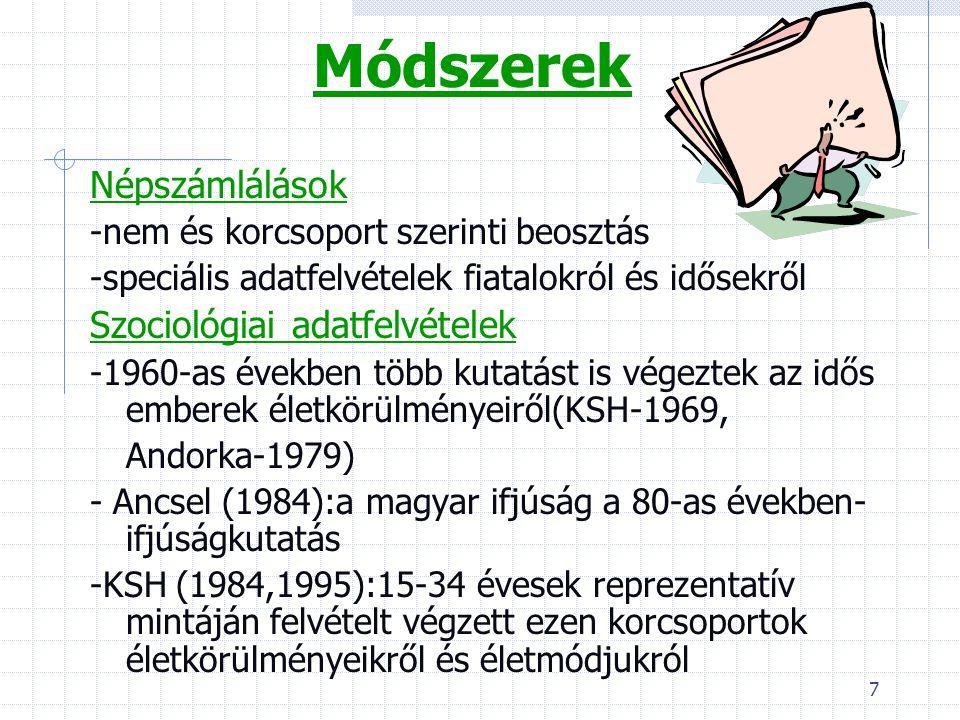 18 Magyarországi helyzet Nők A szocialista korszakban a 15-54 év közötti nők foglalkoztatása szinte teljes körűnek volt mondható 1984-ben 73,8% volt aktív kereső A rendszerváltás után valamivel nőtt a nem tanuló eltartottak aránya, a nők közöt ez 6,3%-ra tehető.
