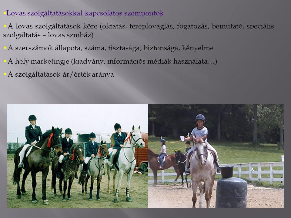  Lovas szolgáltatásokkal kapcsolatos szempontok A lovas szolgáltatások köre (oktatás, tereplovaglás, fogatozás, bemutató, speciális szolgáltatás – lovas színház) A szerszámok állapota, száma, tisztasága, biztonsága, kényelme A hely marketingje (kiadvány, információs médiák használata…) A szolgáltatások ár/érték aránya