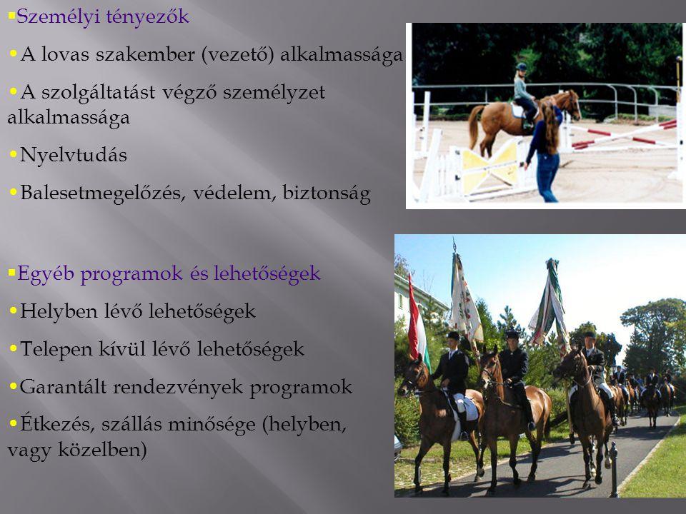  Személyi tényezők A lovas szakember (vezető) alkalmassága A szolgáltatást végző személyzet alkalmassága Nyelvtudás Balesetmegelőzés, védelem, biztonság  Egyéb programok és lehetőségek Helyben lévő lehetőségek Telepen kívül lévő lehetőségek Garantált rendezvények programok Étkezés, szállás minősége (helyben, vagy közelben)