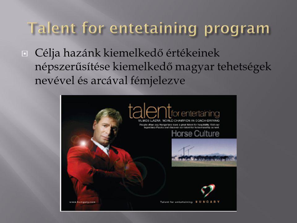  Célja hazánk kiemelkedő értékeinek népszerűsítése kiemelkedő magyar tehetségek nevével és arcával fémjelezve