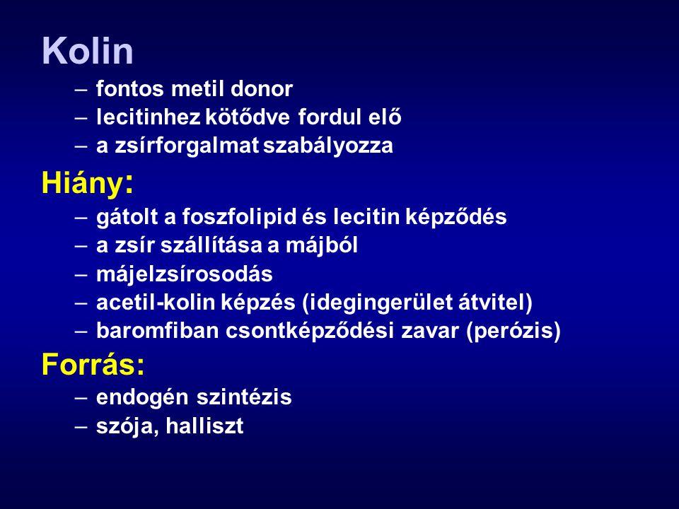 Kolin –fontos metil donor –lecitinhez kötődve fordul elő –a zsírforgalmat szabályozza Hiány : –gátolt a foszfolipid és lecitin képződés –a zsír szállí