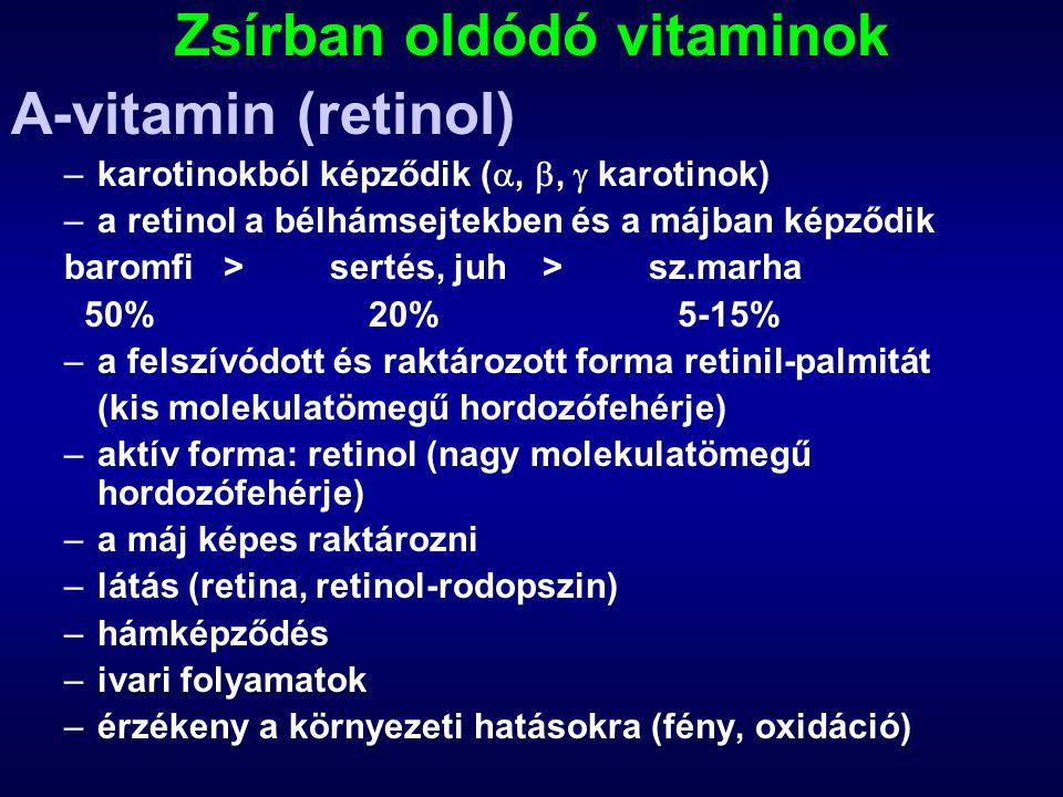 Zsírban oldódó vitaminok A-vitamin (retinol) –karotinokból képződik ( , ,  karotinok) –a retinol a bélhámsejtekben és a májban képződik baromfi>ser