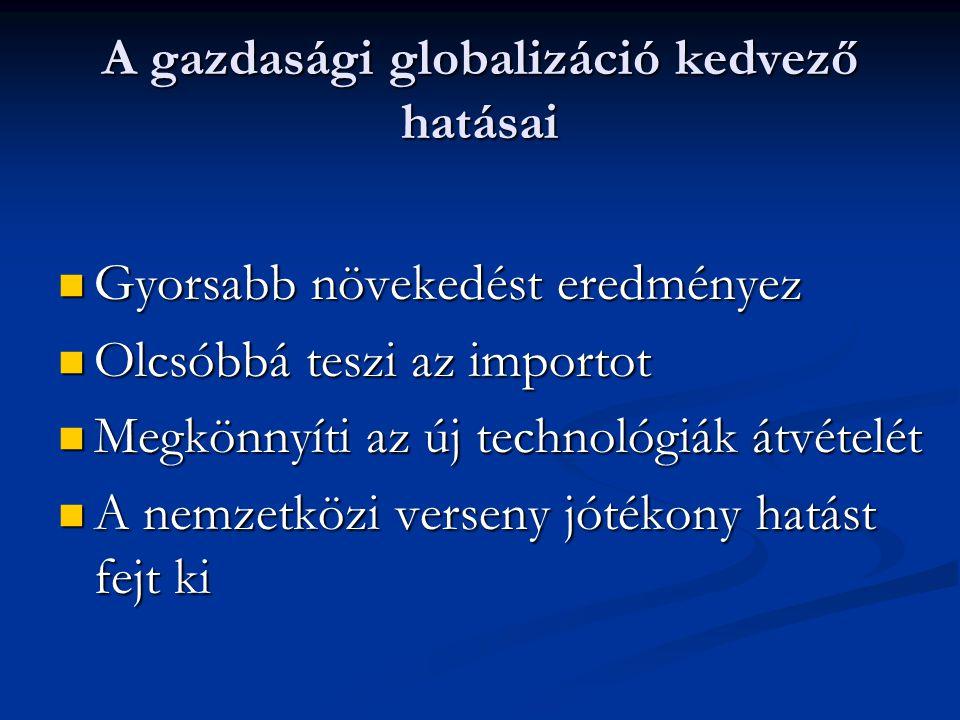 A gazdasági globalizáció kedvező hatásai Gyorsabb növekedést eredményez Gyorsabb növekedést eredményez Olcsóbbá teszi az importot Olcsóbbá teszi az im