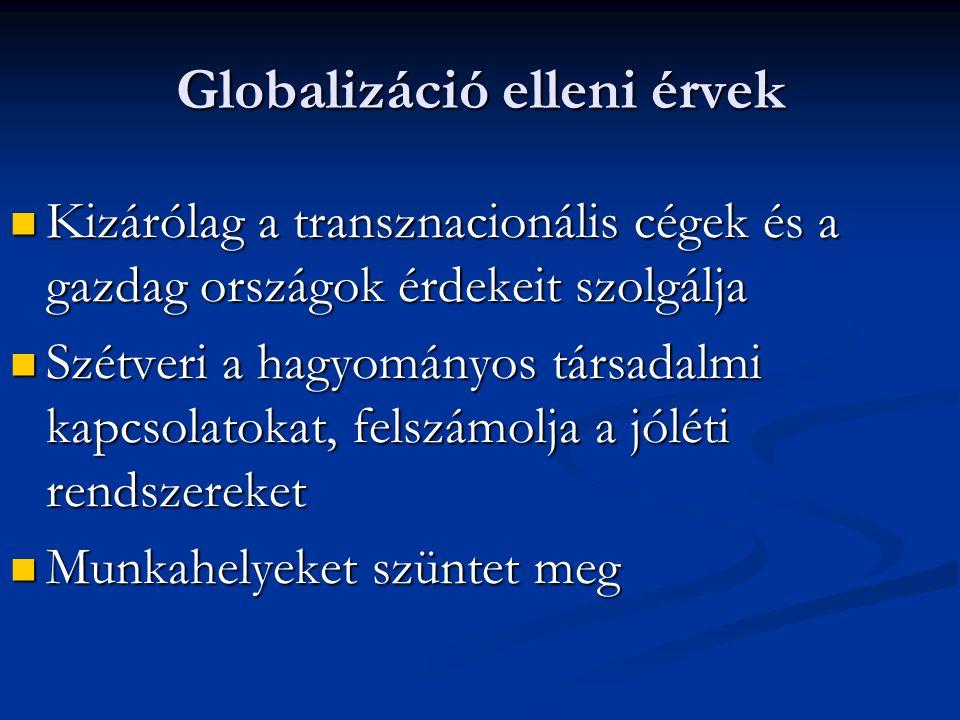 Globalizáció elleni érvek Kizárólag a transznacionális cégek és a gazdag országok érdekeit szolgálja Kizárólag a transznacionális cégek és a gazdag or