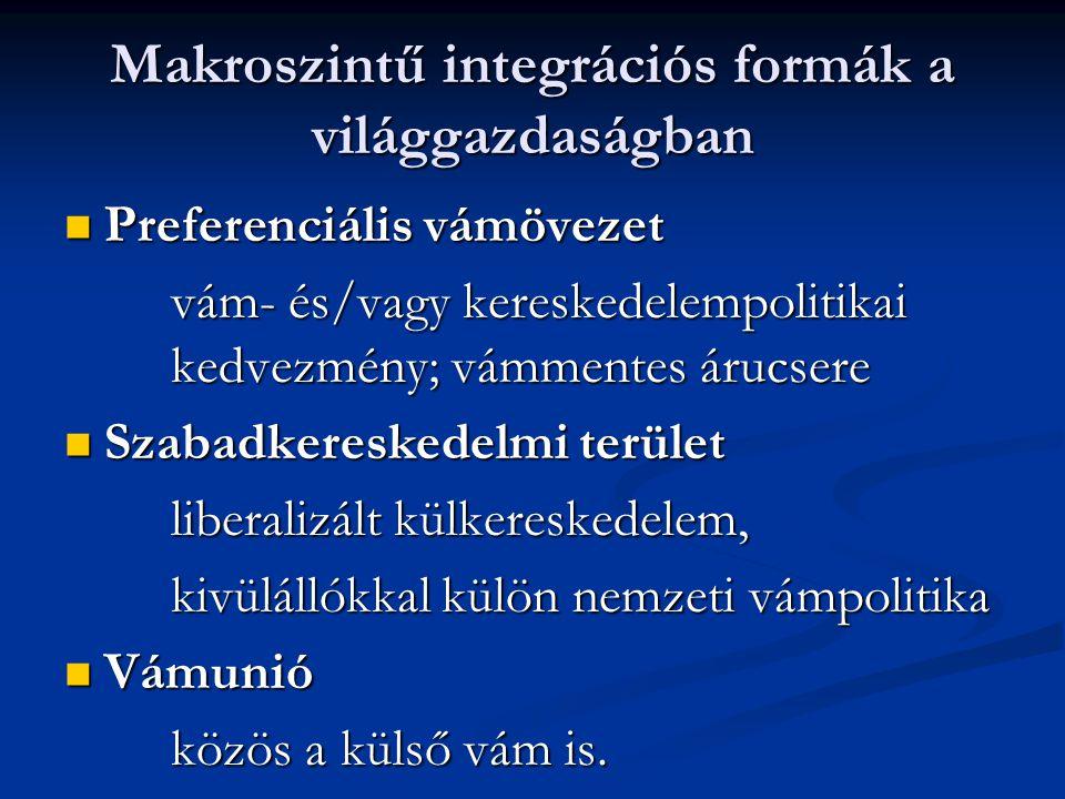 Makroszintű integrációs formák a világgazdaságban Preferenciális vámövezet Preferenciális vámövezet vám- és/vagy kereskedelempolitikai kedvezmény; vám