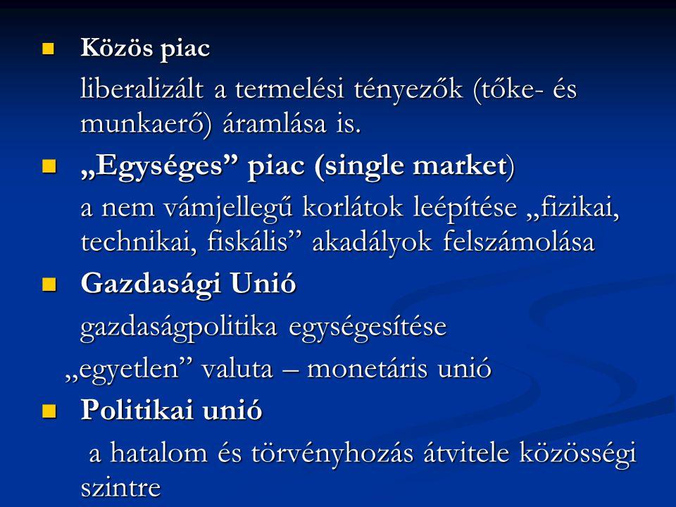 """Közös piac Közös piac liberalizált a termelési tényezők (tőke- és munkaerő) áramlása is. """"Egységes"""" piac (single market) """"Egységes"""" piac (single marke"""