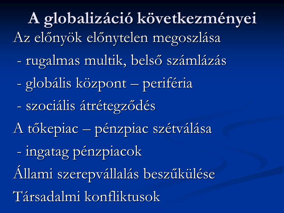 A globalizáció következményei Az előnyök előnytelen megoszlása - rugalmas multik, belső számlázás - rugalmas multik, belső számlázás - globális közpon