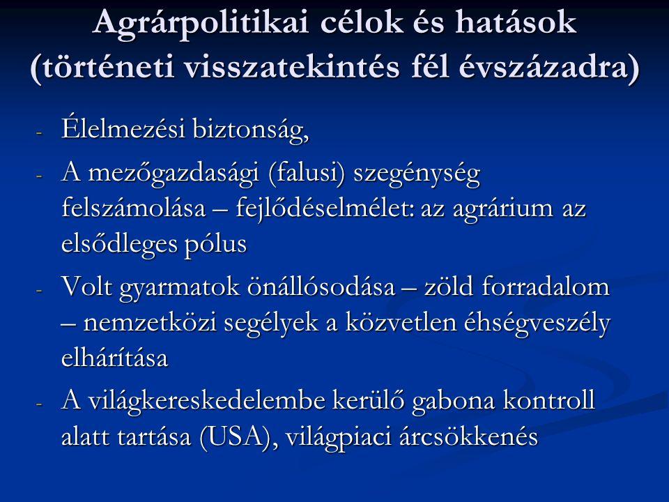 - A mezőgazdasági termékek reálárának csökkenése (200 év óta folyamatosan) - Az állami költségvetések agrárcélú kiadásai (intézményrendszer kialakítása, fenntartása, ellátásbiztonság) - Az EGK létrejötte, az önellátásra törekvés – más országokban is.