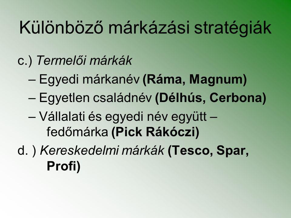 Különböző márkázási stratégiák c.) Termelői márkák – Egyedi márkanév (Ráma, Magnum) – Egyetlen családnév (Délhús, Cerbona) – Vállalati és egyedi név e