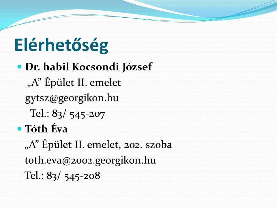 """Elérhetőség Dr. habil Kocsondi József """"A"""" Épület II. emelet gytsz@georgikon.hu Tel.: 83/ 545-207 Tóth Éva """"A"""" Épület II. emelet, 202. szoba toth.eva@2"""