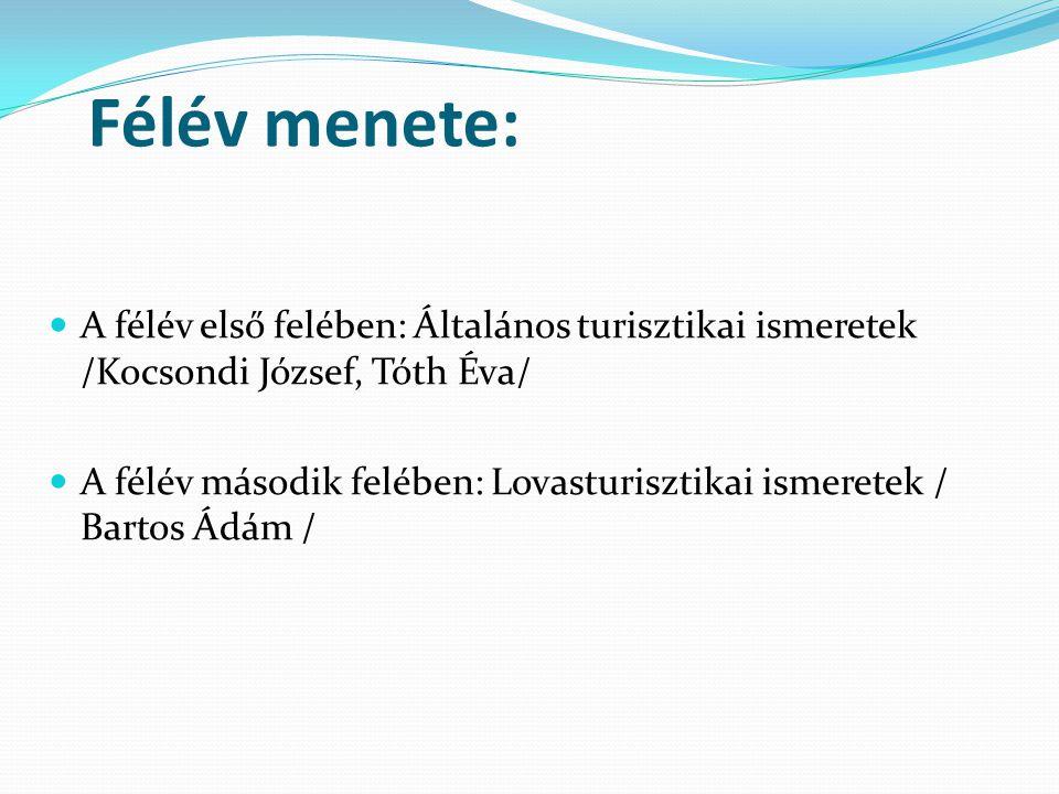 Félév menete: A félév első felében: Általános turisztikai ismeretek /Kocsondi József, Tóth Éva/ A félév második felében: Lovasturisztikai ismeretek /